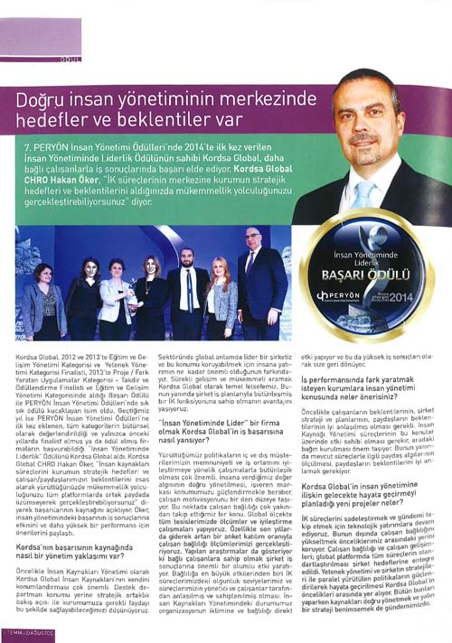 Hakan Öker's interview; Chief Human Resources Officer is at Peryön Magazine