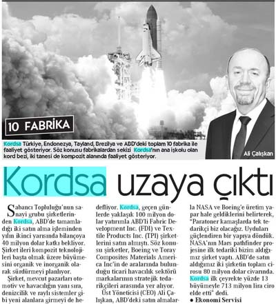Kordsa rised into space