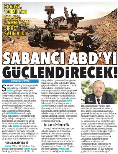 Sabancı will reinforce the US!