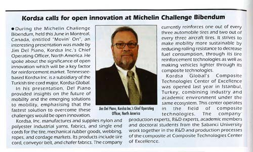 Kordsa calls for open innovation at Michelin Challenge Bibendum