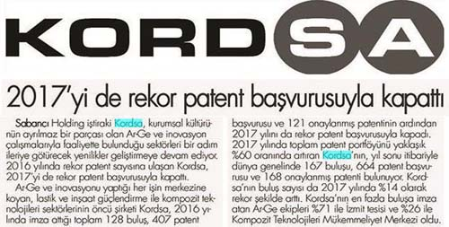 Kordsa made a record number of patent application in 2017