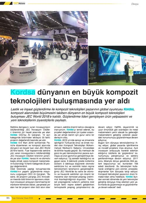 Kordsa participated in  world's largest composite fair.