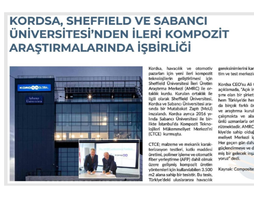 Cooperation in advanced composite research from Kordsa Sheffield and Sabancı University