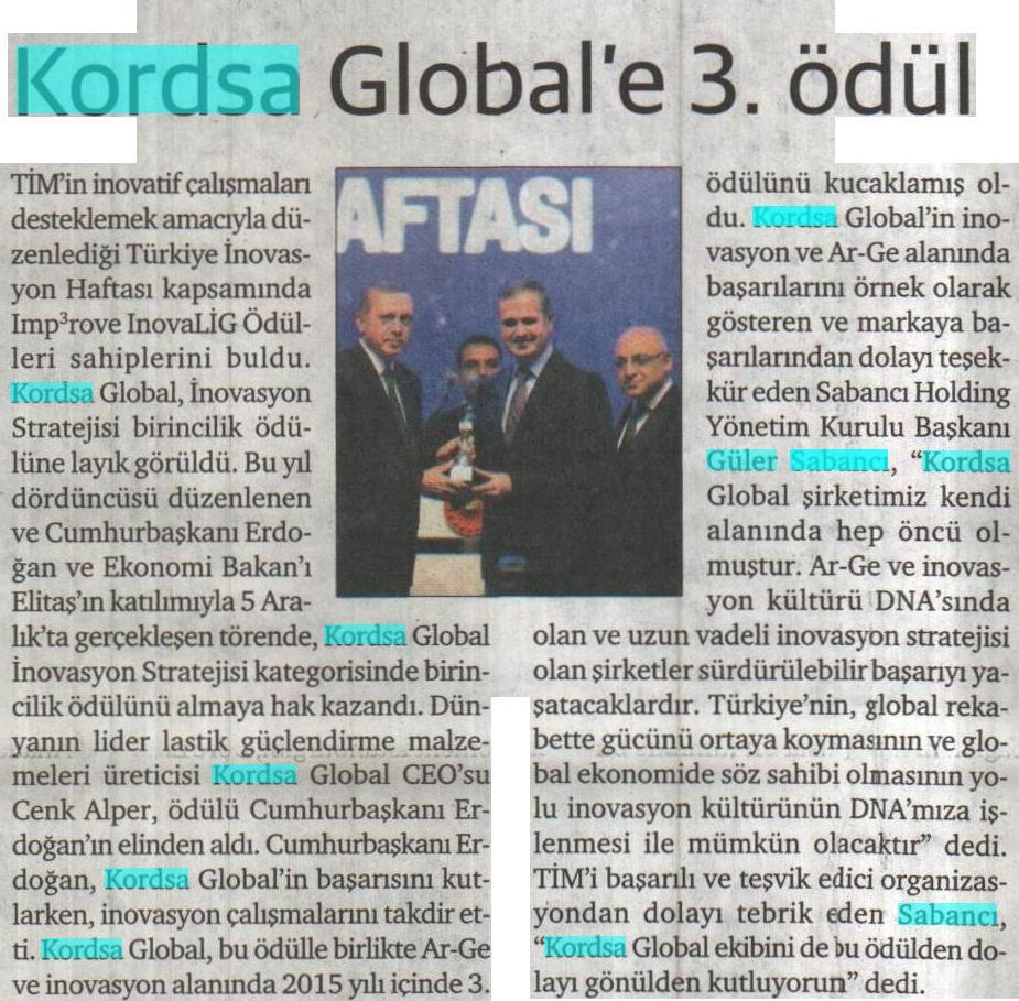 Kordsa Received Turkish Exporters Assembly Inovation Strategy Award