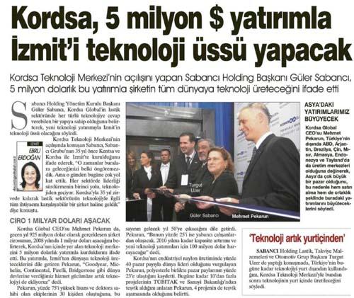 Kordsa, 5 milyon dolar yatırımla İzmit'i teknoloji üssü yapacak
