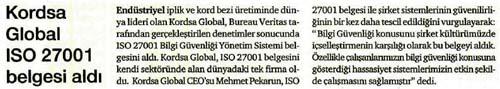 Kordsa ISO 27001 belgesi aldı