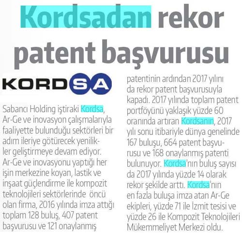 Kordsadan rekor patent başvurusu
