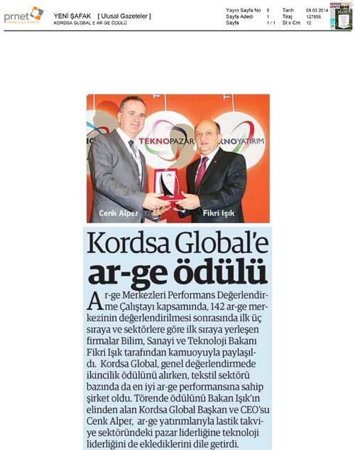 Kordsa'ya Ar-Ge ödülü