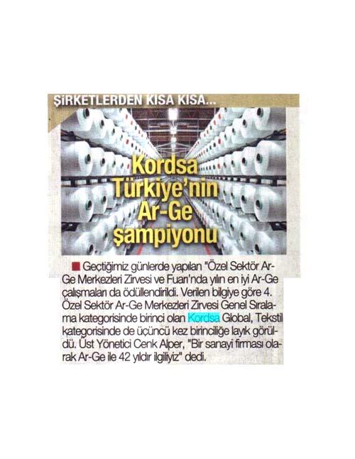 Kordsa Türkiye'nin Ar-Ge şampiyonu