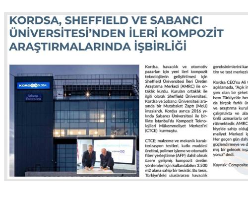 Kordsa, Sheffield ve Sabancı Üniversitesi'nden İleri Kompozit Araştırmalarında İşbirliği