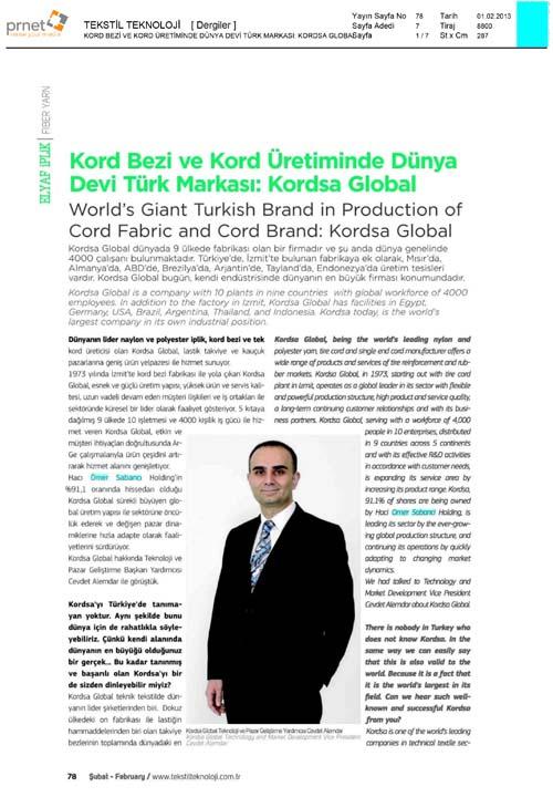 Tekstil Teknoloji Dergisi, Cevdet Alemdar Röportajı