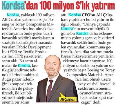 Kordsa'dan 100 milyon $'lık yatırım