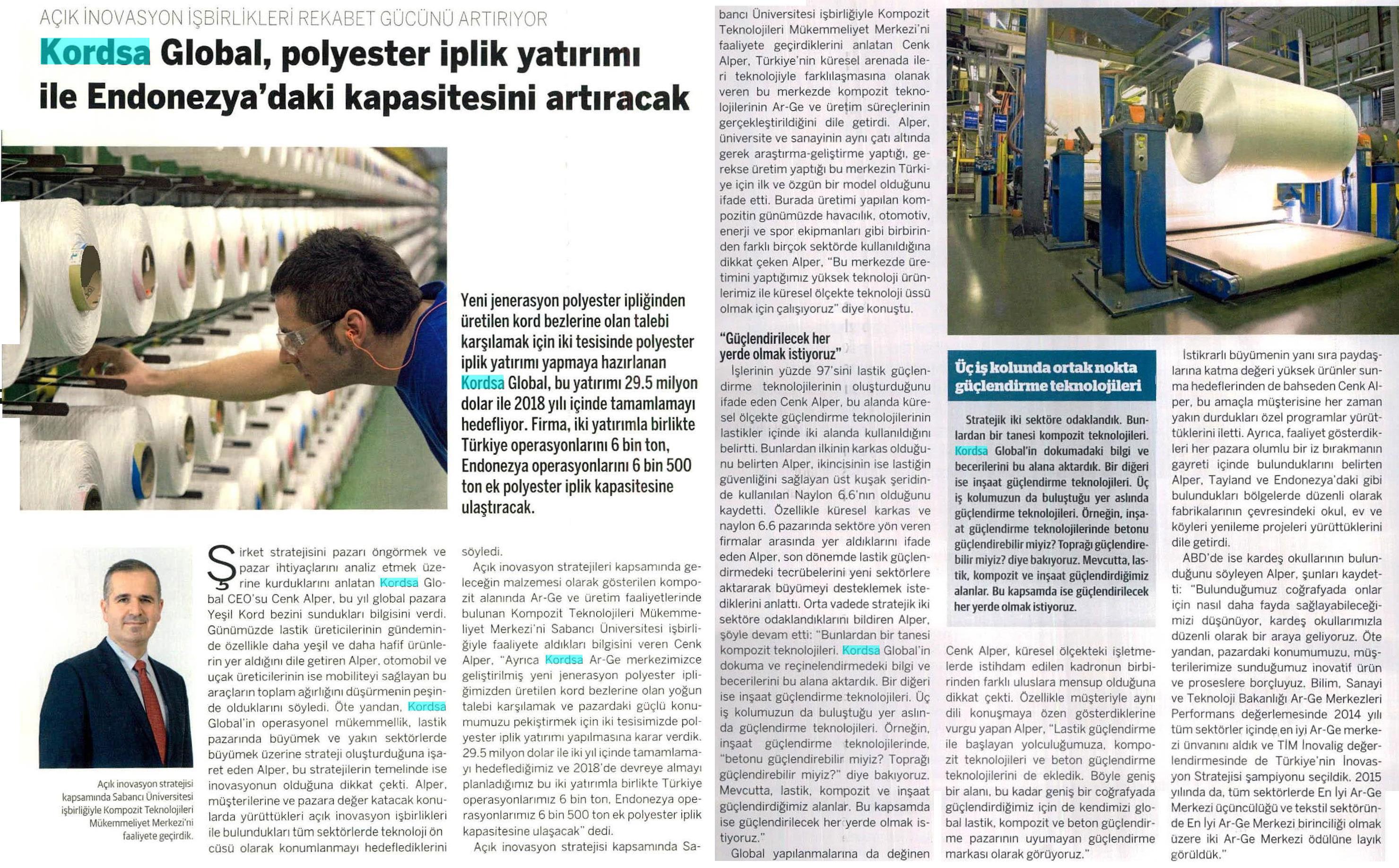 Kordsa, polyester iplik yatırımı ile Endonezya'daki kapasitesini artıracak.