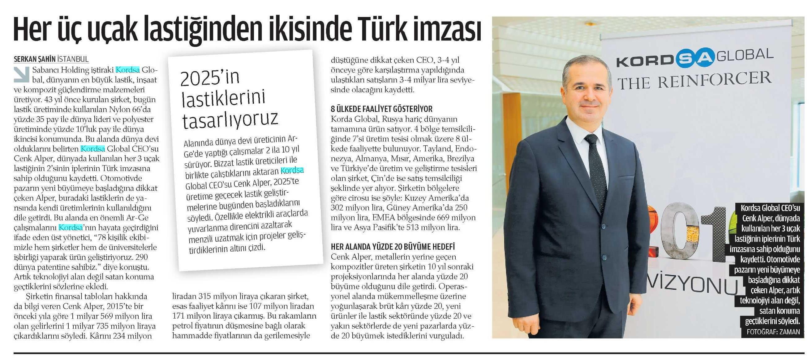 Her üç uçak lastiğinden ikisinde Türk imzası
